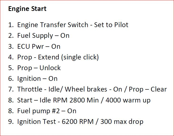 Engine Start while on the ground